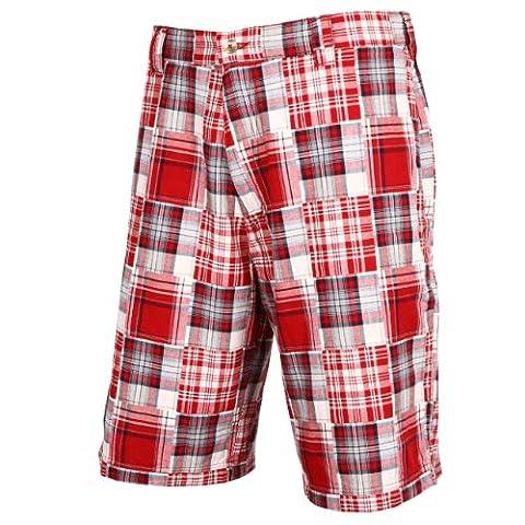 Tres Bien Golf Men's 100% Cotton Patch Work Plaid Shorts-Red-32 - Dyed Cotton Short