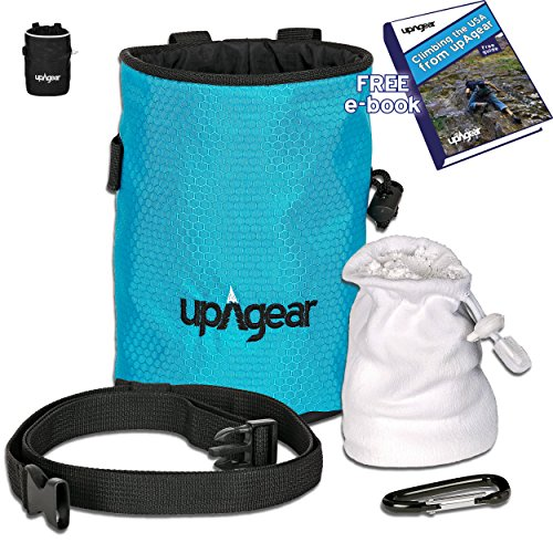 upAgear 4 in 1 Rock Climbing or Bouldering Chalk Bag set | ANTI LEAK design with LARGE POCKET | Includes FREE eBook