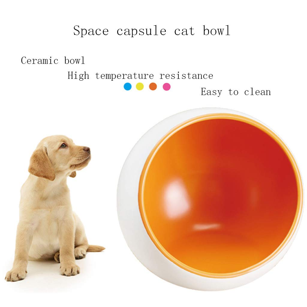 orange Small orange Small Pet Bowl Ceramic cat Bowl Cat Food Bowl Space Capsule Oblique Bowl Cat Dog Bowl Single Bowl,orange,S