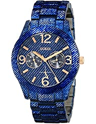GUESS Womens U0288L1 Dazzling Blue Denim Hi-Shine Sport Watch