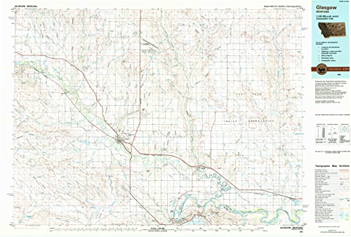 YellowMaps Glasgow MT topo map, 1:100000 Scale, 30 X 60 Minute, Historical, 1984, Updated 1984, 24.1 x 35.6 in - Polypropylene