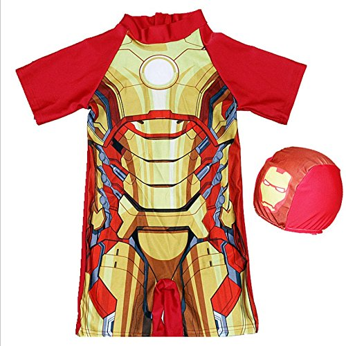 Swimsuit Swimwear Boy One Piece Bathing Suit with Cap Superheroes Batman Swimming Boys Captain America Kids Sport Baby Beachwear (4-6Y, Iron Man) -