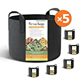 HONEST OUTFITTERS 5-Pack 15 Gallon smart Grow Bags/Plant Container/Aeration Fabric Pots for Potato With Handles (Black) For Sale