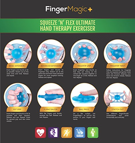 Original Finger Exerciser & Hand Strengthener by FingerMagic. Grip Strength Training for Athletes, Musicians & Physical Therapy