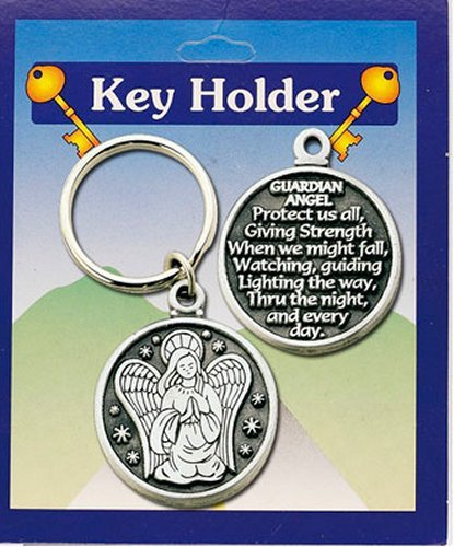 GUARDIAN ANGEL Key Ring & Lourdes Prayer - Guardian angel Protect us all