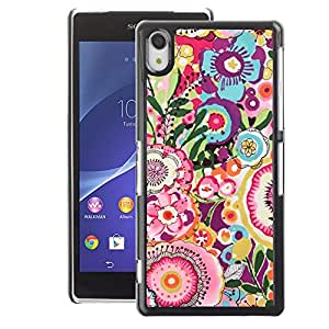 A-type Arte & diseño plástico duro Fundas Cover Cubre Hard Case Cover para Sony Xperia Z2 (Summer Flowers Spring Pink Yellow)