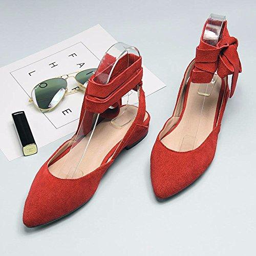 Verano nuevo sandalias planas mujer hueco inferior moda calzado mujer venda Lady Muller zapato Red