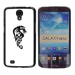 For Samsung Galaxy Mega 6.3 / I9200 / SGH-i527 Case , Dragon Mythical Creature Decal Black - Diseño Patrón Teléfono Caso Cubierta Case Bumper Duro Protección Case Cover Funda