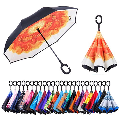 Cab Ground Effects - AmaGo Inverted Umbrella – Reverse Double Layer Umbrella, C-Shape Handle & Self-Stand to Spare Hands, Inside-Out Fold to Keep Cars & Driver Dry, Carrying Bag Easy Traveling