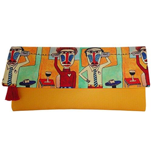 Fold Over Satchel (BoBo Women's Silk Satin Fold-Over Clutch Handmade Bag; Love Call)