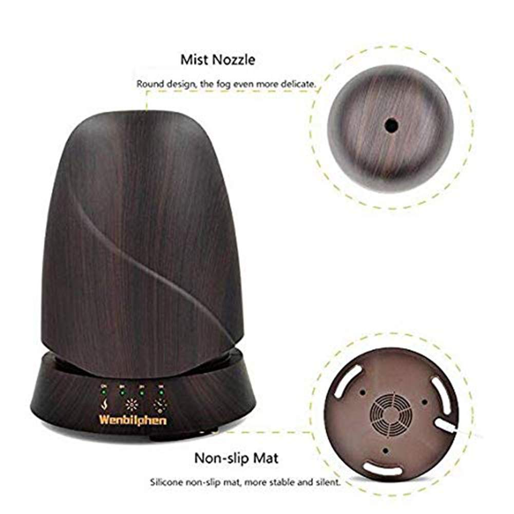 QSCA Ultrasonic Wood Grain humidifier 350ml Wood Grain Aromatherapy Machine humidifier Household atomized Oil Diffuser by QSCA (Image #4)