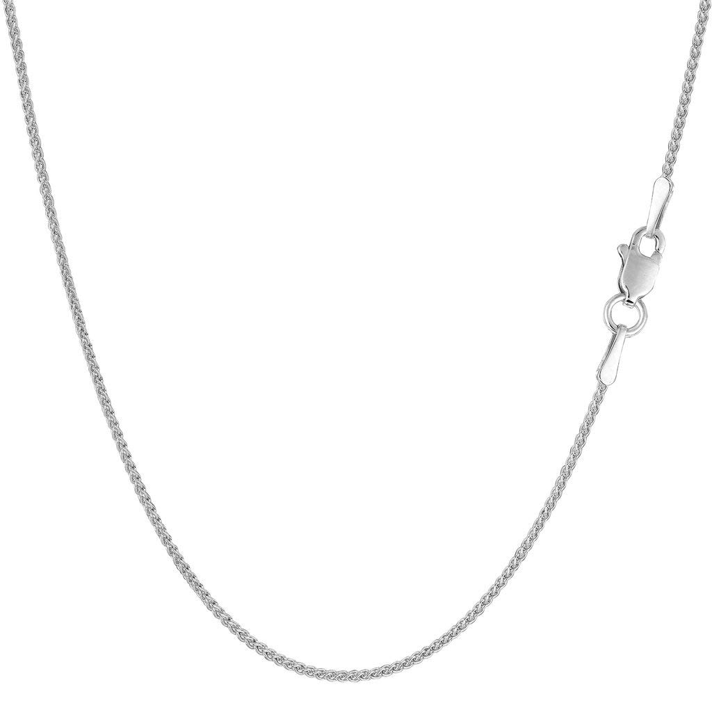 14K Yellow or White Gold 1.00mm Shiny Diamond-Cut Round Wheat Chain Necklace for Pendants and Charms with Lobster-Claw Clasp (16'' 18'' or 20 inch)