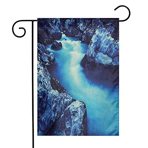Mannwarehouse Waterfall Garden Flag Frozen Dangerous Lake with Atmosphere of a Cave and Snow on The Rocks Nature Decorative Flags for Garden Yard Lawn W12 x L18 Blue and Black (Milwaukee Brewers Rock)