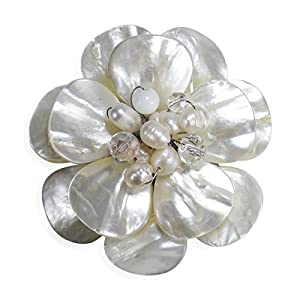 AeraVida White Lotus Mother of Pearl Cultured Freshwater Pearl Crystal Petals Floral Pin or Brooch