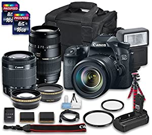 Canon EOS 70D DSLR Camera Bundle with Canon EF-S 18-55mm f/3.5-5.6 IS STM Lens + Tamron Zoom Telephoto AF 70-300mm f/4-5.6 Macro Autofocus Lens + 2 PC 16 GB Memory Card + Camera Case