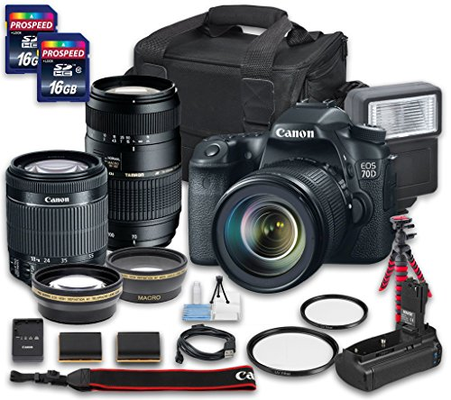 Canon Pro Video Cameras (Canon EOS 70D DSLR Camera Bundle with Canon EF-S 18-55mm f/3.5-5.6 IS STM Lens + Tamron Zoom Telephoto AF 70-300mm f/4-5.6 Macro Autofocus Lens + 2 PC 16 GB Memory)