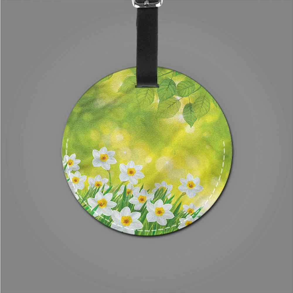 Men Luggage Tag Daffodil,Delicate Spring Plants Label Tag Address Holder