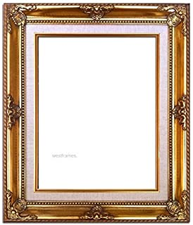 west frames estelle antique gold leaf wood picture frame with natural linen liner 8