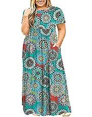POSESHE Women Plus Size Long Sleeve Plain Casual Long Maxi Dress with Pockets