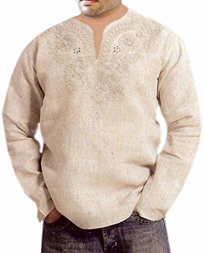 INMONARCH Mens Beautiful embroidered work short kurta TSK01 54XL Natural by INMONARCH