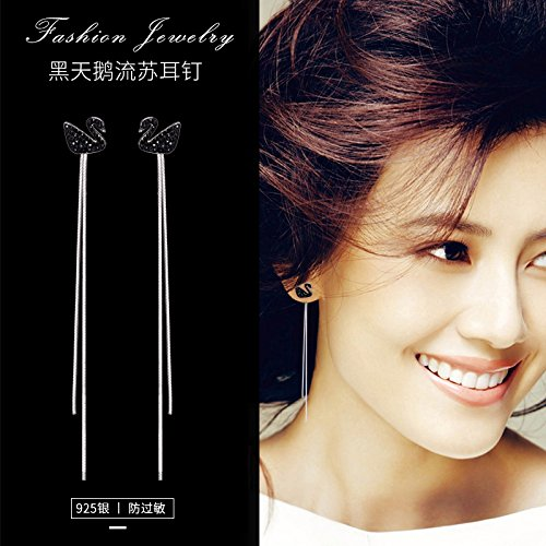 TKHNE Sexy fashion style 925 sterling silver pin Micro Pave CZ Black Swan elegant earrings sweet earrings