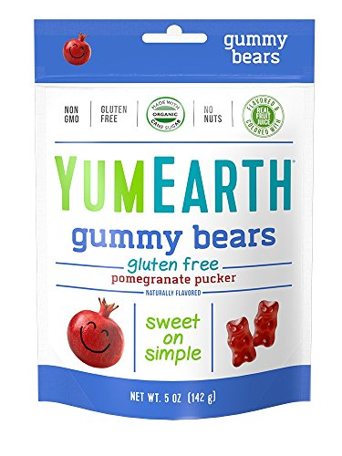 YumEarth Pomegranate Pucker Gummy Bears, 5 Ounce Bag (Pack of 12) -