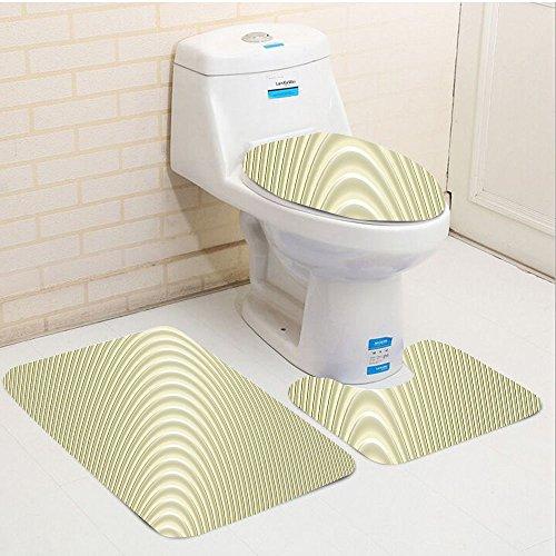 Keshia Dwete three-piece toilet seat pad customModern Simplistic Circular Circles Wave Spirals Peaceful Minimalist Authentic Artwork Eggshell by Keshia Dwete