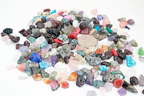 ASSORTED MIXED 4-10mm Gemstone Nugget Chip Loose Beads Birthstone Jewelry Making (Pack of 40 - Chip Gemstone Beads Nugget
