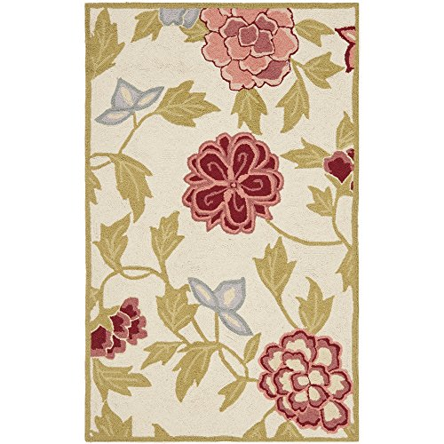 Safavieh Chelsea Collection HK714A Hand-Hooked Ivory and Green Premium Wool Area Rug (2'6