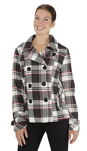 (8003) Dollhouse Classic Faux Wool Double Breasted Short Pea Coat with Pop Print Lining in StephaniePlaid Size: M