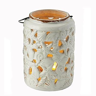 Design Imports Sea Shell Distressed White 8 x 6 Inch Stoneware Outdoor Tabletop Lantern