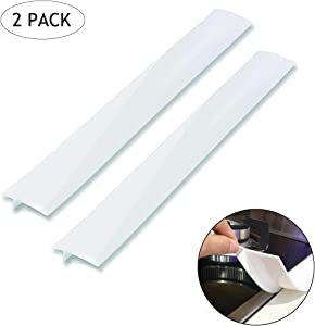 Silicone Gap Cover, (2 Pack) Silicone Gap Stopper Kitchen Stove Counter Gap Covers - Flexible Stove Space Fillers, Food Grade (21inches, White)