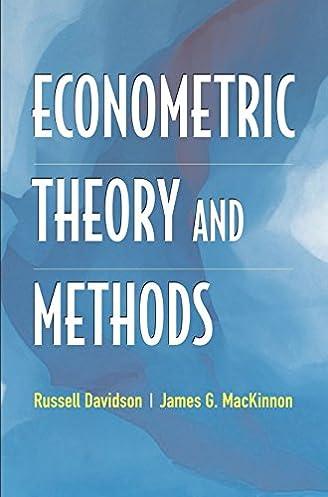 econometric theory and methods russell davidson james g mackinnon rh amazon ca Econometrics Questions Econometrics Chile