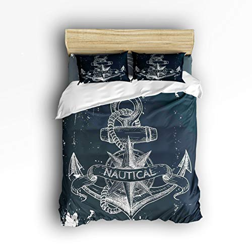 5 Piece Crib Ensemble - 4 Piece Bedding Sets Nautical Anchor Duvet Cover Set One Side Printed Super Soft Twill Plush Comforter Set Twin Size