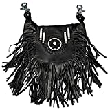 "Hot Leathers, SOFT LAMBSKIN LADIES LEATHER CLIP POUCH PURSE with Fringe - 8"" x 7"" x 3"""