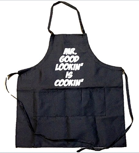 Funny Guy Mugs Mr. Good Lookin' is Cookin' Apron, One Size, Black