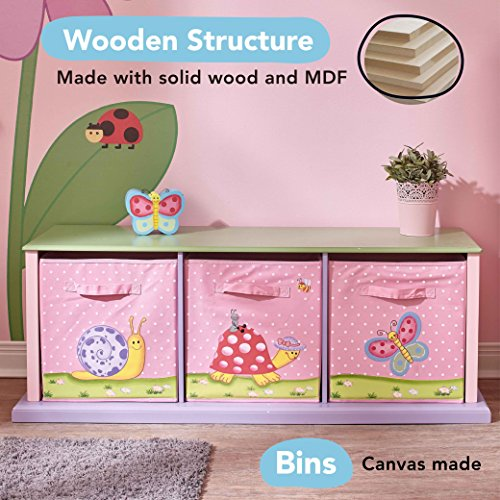 Teamson Design Corp Fantasy Fields - Magic Garden Thematic 3 Drawer Cubby | Imagination Inspiring�Hand Crafted & Hand Painted Details | Non-Toxic, Lead Free Water-based Paint