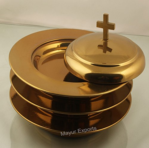 Brasstone- 3 Stainless Steel Communion Stacking Bread Plate with Cover ()