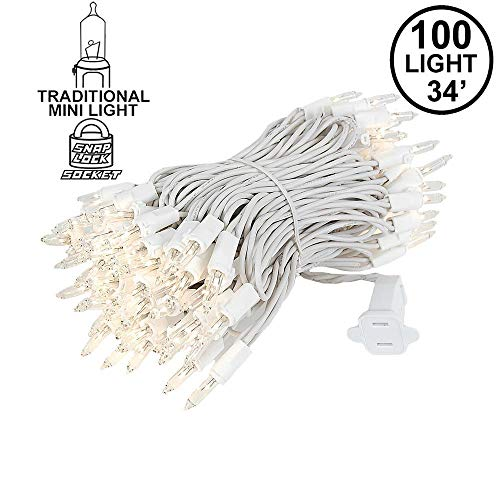Novelty Lights 100 Light Clear Christmas Mini Light Set, White Wire, 34' Long -