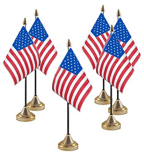 Set di 6x usa/riportata uniti d' America piccola tabella bandiere–luglio/Independence Day Labor giorno del Ringraziamento/Super Bowl Stars & Stripes Table/conferenza/convezione/cena/Banqueting bandiere–Qualità top tavolo bandiere (15,2x 10,2cm/1
