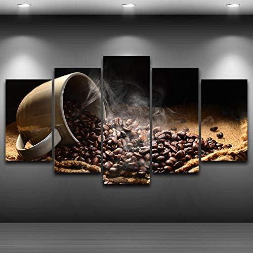 キャンバス絵画キッチンウォールアート5ピース香りのコーヒー豆写真プリントポスターレストラン家の装飾40X60Cmx2 40X80
