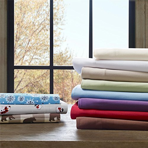 Cozyspun All Seasons Blue Snowflake Sheet Set, Causal Bed Sheets Full, Micro Plush Bed Sheets Set 4-Piece Include Flat Sheet, Fitted Sheet & 2 Pillowcases (Product Premiere Mattress Set)