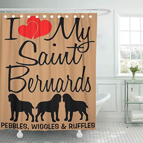 "Semtomn Shower Curtain Dog I Love Three Saint Bernards Silhouette Loves Heart 72""x72"" Home Decor Waterproof Bath Bathroom Curtains Set with Hooks"