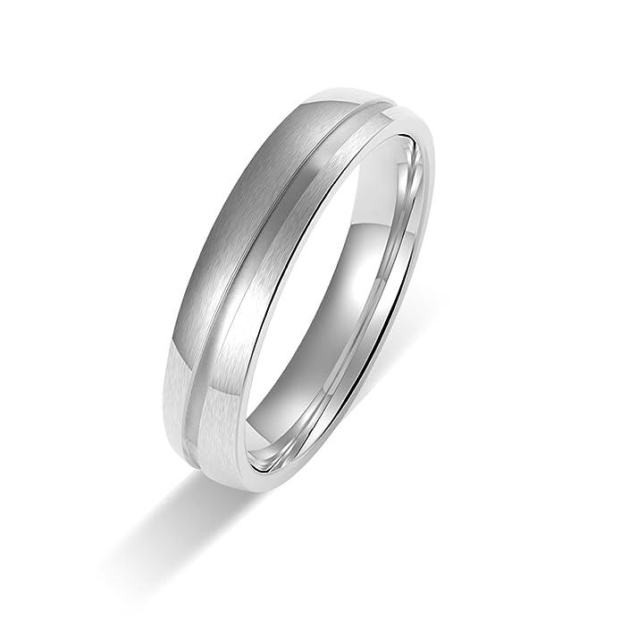Amtier Titanium Siver Couple Wedding Engagement Band Rings 5MM for Men Women E3XFa7V4