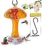 Grateful Gnome - Hummingbird Feeder - Hand Blown Glass - Red and Orange Mushroom - 32 Fluid Ounces