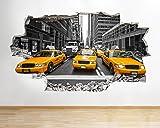 Z077 New York City NYC Yellow Cab America Wall Decal Poster 3D Art Stickers Room Kids Bedroom Baby Nursery Cool Livingroom Hall Boys Girls (Medium (52x30cm))