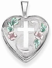 Solid 925 Sterling Silver 16mm D/C & Enameled Cross & Flowers Love Heart Locket Opens Engravable Pendant (21mm Height x 16mm Width)