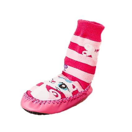 Pantuflas para niños, de la marca Moolecole, tipo calcetín, de rayas rosas con el dibujo de un gato rosa rosa Talla:15cm: Amazon.es: Bebé