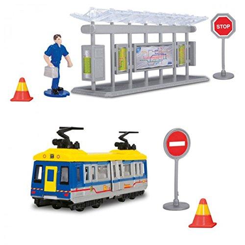DICKIE Tram Station Straßenbahn Spielzeug Zug Bus Bahn Kinder Fahrzeug Metall NEU, Farbe:gelb-blau