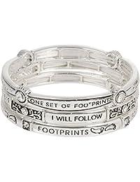 Footprints Prayer Stretch Bracelet Stack Trio Silver Tone with Crystals